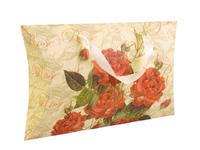 Darčeková krabička béžová s červenými kvetmi