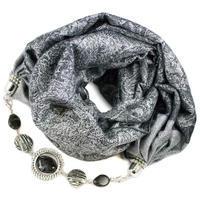 Kašmírový šál s bižutériou - sivý