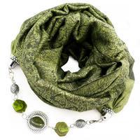 Kašmírový šál s bižutériou - zelený