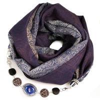 Kašmírový šál s bižutériou - modrý