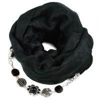 Kašmírový šál s bižutériou - čierny