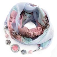 Šál s bižutériou bavlnený - modroružový