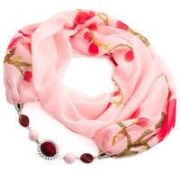 Šál s bižutériou Extravagant - ružový