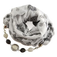 Šál s bižutériou bavlnený 450bb004-01.70 - biely