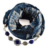 Šál s bižutériou bavlnený 450bb013-30.72 - modrý
