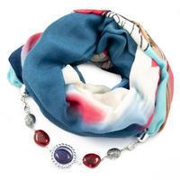 Šál s bižutériou bavlnený - modročervený