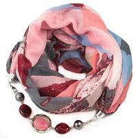 Šál s bižutériou bavlnený - ružovosivý