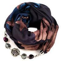 Šál s bižutériou bavlnený - fialovomodrý
