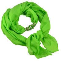 Šál s bižutériou Bijoux Me - zelený