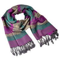Šál teplý - fialovozelený