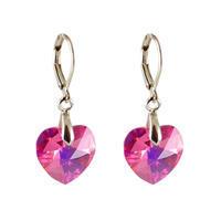 Náušnice Swarovski Elements Srdce 713akt6228-14-23ab - ružové