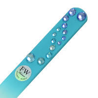 Sklenený pilník s kamienkami Swarovski - modrý