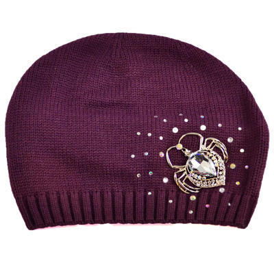 Pletená vlnená čiapka - fialová