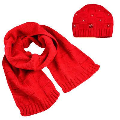 Set šál a čiapky - červený - 1
