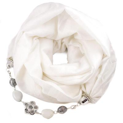 Kašmírový šál s bižutériou - biely