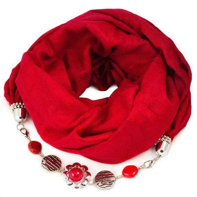 Kašmírový šál s bižutériou 490kk001-20 - červený