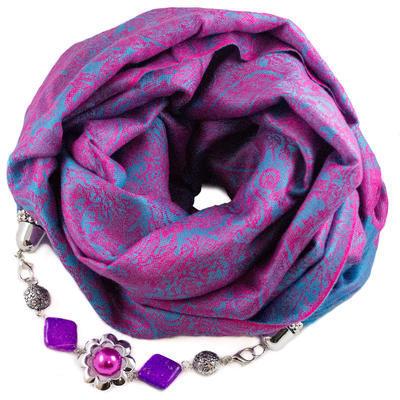 Kašmírový šál s bižutériou - ružovomodrý