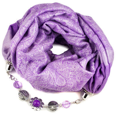 Kašmírový šál s bižutériou - fialový