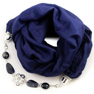 Kašmírový šál s bižutériou - tmavo modrý