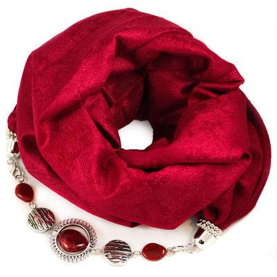 Kašmírový šál s bižutériou - červený