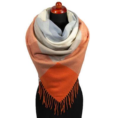 Maxi šatka - oranžovo-sivá - 1