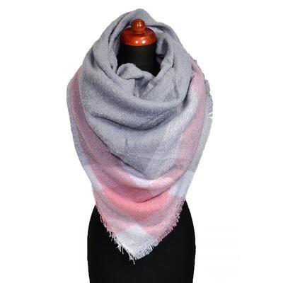 Maxi šatka - sivo-ružová - 1