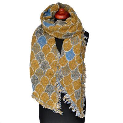 Maxi šál - zlato-modrý