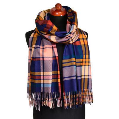 Maxi šál - modro-oranžový kockovaný - 1