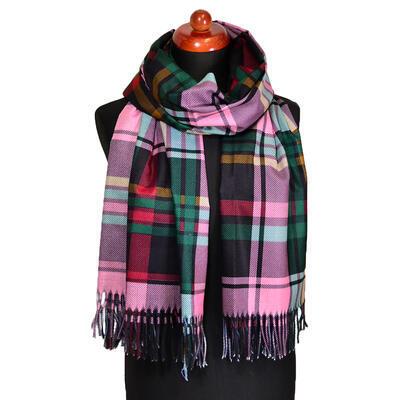 Maxi šál - zeleno-ružový kockovaný - 1