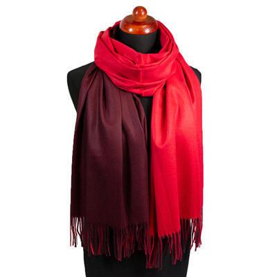 Maxi obojstranný šál - červeno-hnedý - 1