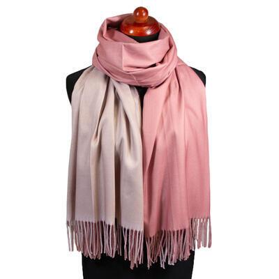 Maxi obojstranný šál - ružovo-béžový - 1
