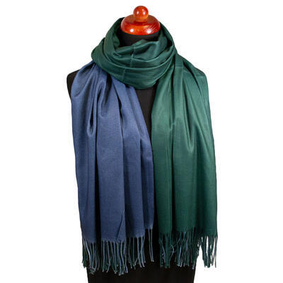 Maxi obojstranný šál - modro-zelený - 1