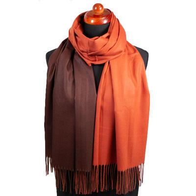 Maxi obojstranný šál - hnedo-oranžový - 1