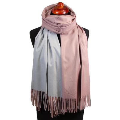 Maxi obojstranný šál - sivo-ružový - 1