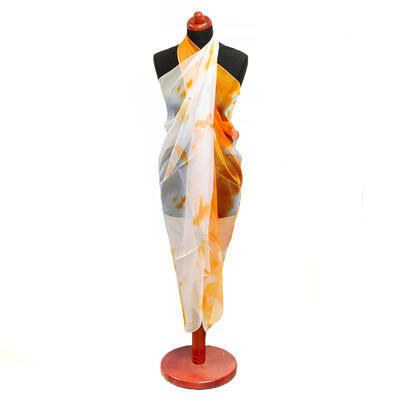 Pareo dámske - bielo-oranžové