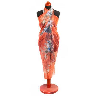 Pareo dámske - oranžové s potlačou