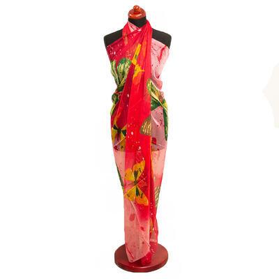Pareo dámske - červeno-ružové