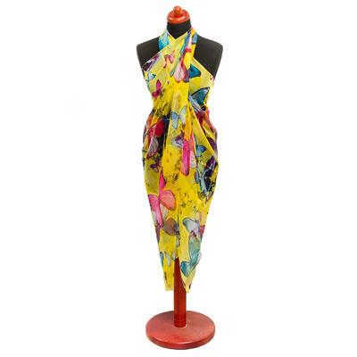 Pareo dámske - žlté s kvety