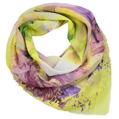 Velká šatka - žlto-fialová s potlačou - 1