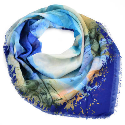 Veľká bavlněná šátka - modrá s potlačou - 1