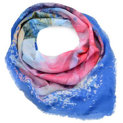 Veľká bavlněná šátka - modro-ružová s potlačou - 1