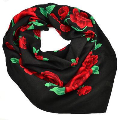 Veľká bavlněná šátka - čierno-červená s potlačou - 1
