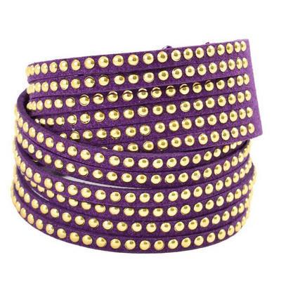 Dvojitý náramok s kamienkami 26ss004-33 - fialový