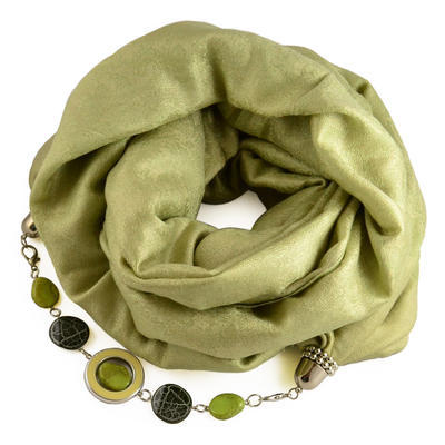 Kašmírový šál s bižutériou 490kk001-51 - zelený