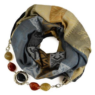 Kašmírový šál s bižutériou 490kk009-71.14 - sivobéžový