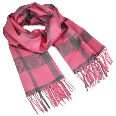 Šál teplý - ružový s potlačou - 1
