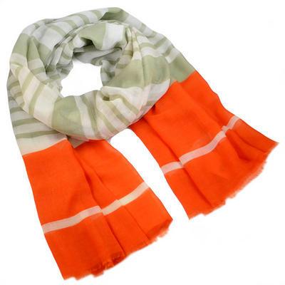 Šál klasický - oranžovo-zelený - 1