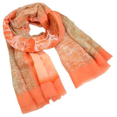 Šál klasický - oranžový s potlačou - 1