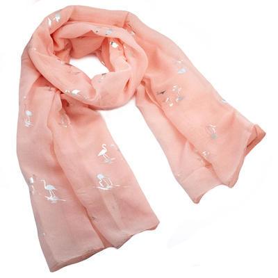 Šál klasický - ružový s plameniaky - 1