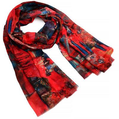 Šál klasický - červeno-modrý - 1